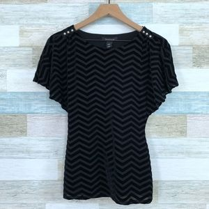 Velvet Chevron Striped Blouse Black WHBM